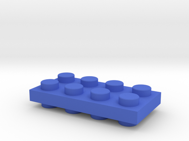 Toy Brick special Connector Up-Down positive flat in Blue Strong & Flexible Polished