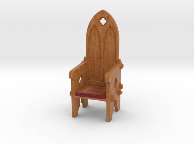 Medieval Gothic style doll house chair in Full Color Sandstone