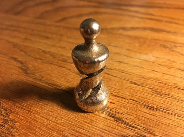 Chess Pawn Double Helix in Black Strong & Flexible: Medium