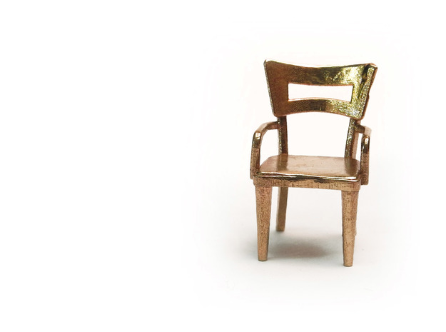 Pair of 1:48 Dog Bone Chairs, with Arms in Raw Brass
