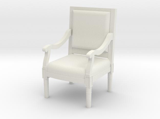 1:48 Louis XVI Armchair Straight Back in White Natural Versatile Plastic