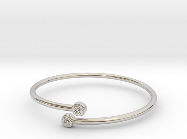Tafari Thompson Bypass Cuff with Embossed Spiral in Rhodium Plated Brass: Small