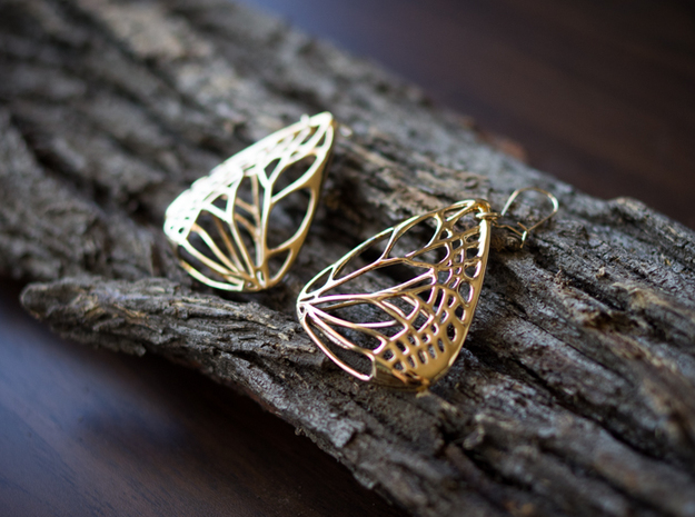 Metal Butterfly Earrings (L) 3d printed Material : Polished Bronze