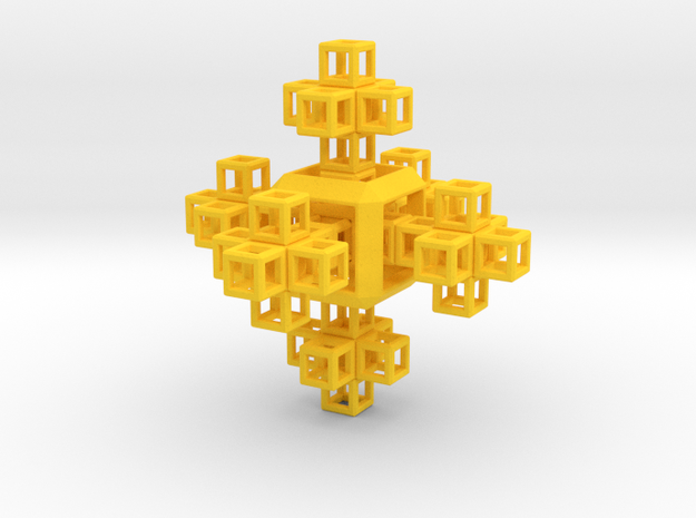 SCULPTURE COLLECTION 6 Crosses 1 HyperCube  in Yellow Processed Versatile Plastic
