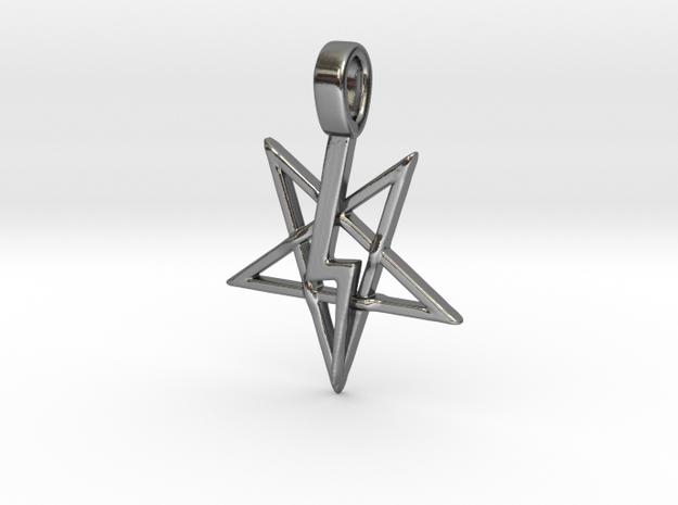 Pentagram Lightning Bolt  in Polished Silver