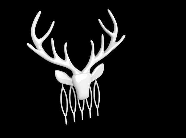 Stag with antlers comb hairpin in White Strong & Flexible