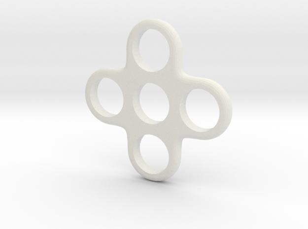 Quad EDC Fidget Spinner in White Strong & Flexible