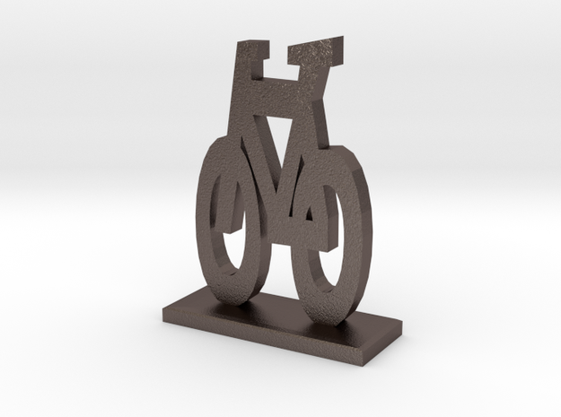 Bike Symbol Stand in Polished Bronzed Silver Steel