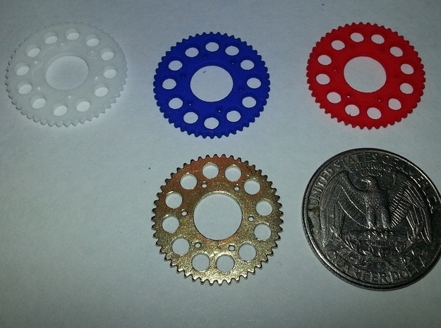 Motorcycle Sprocket Pendant or Golf Ball Marker in White Processed Versatile Plastic