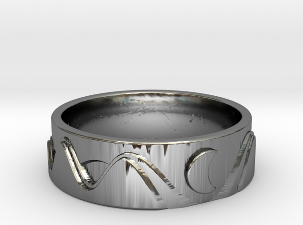 Sun, Moon & Hills in Fine Detail Polished Silver