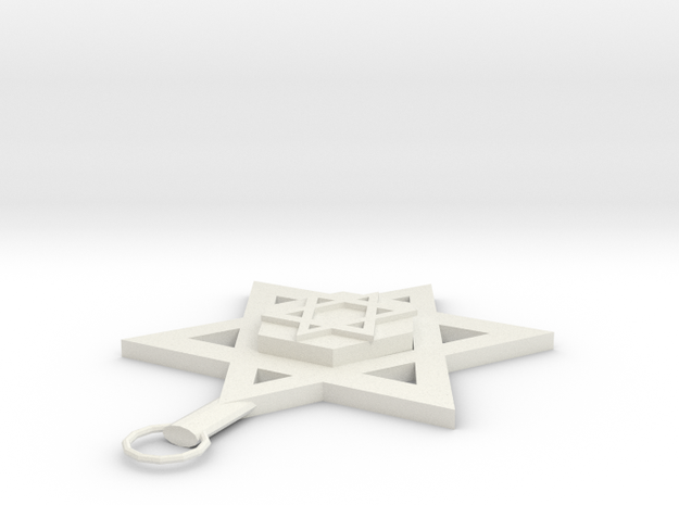 Star Of David Pendant in White Strong & Flexible