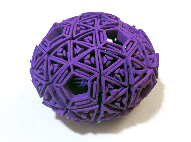 Soft-Boiled Geodesic (6cm) in Purple Processed Versatile Plastic