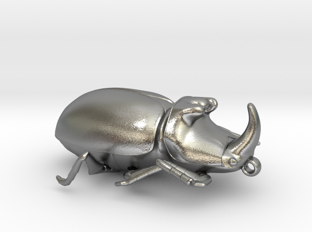 Rhinoceros-Beetle in Natural Silver: Extra Small