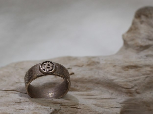 Bitcoin Ring (BTC) - Size 12.0 (U.S. 21.39mm dia) 3d printed Bitcoin Ring - Stainless steel