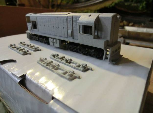 NZ120 Di Class 3d printed Printed in FUD, sideframes ready to attach to chassis (GP30 Chassis frame with SD-45 Trucks)
