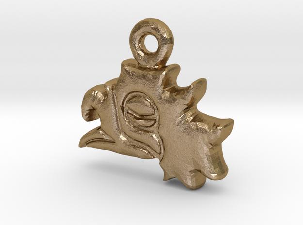 Aztec Eagle Pendant in Polished Gold Steel