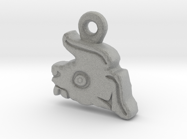 Aztec Rabbit Pendant in Metallic Plastic