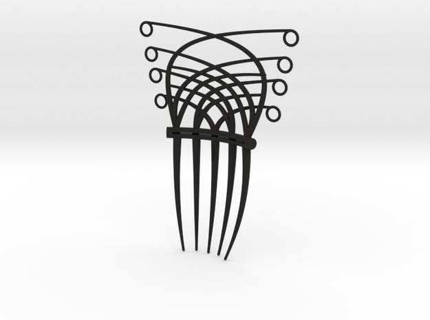 Art Deco/Art nouveau inspired hair comb in Black Natural Versatile Plastic