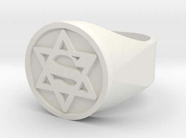 Ring US 12 Super Jew Signet  in White Strong & Flexible