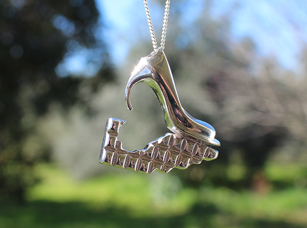 Shoe and Chocolate Pendant in Polished Silver