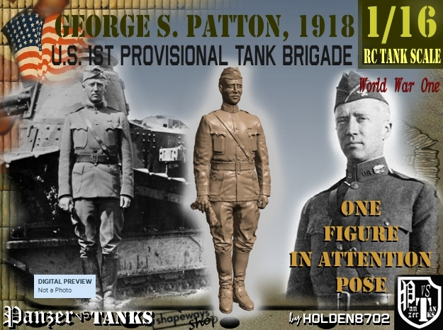 1-16 George S Patton Attention Pic 1918 in White Strong & Flexible