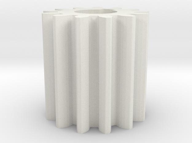 Cylindrical gear Mn=1 Z=13 AP20° Beta0° b=15 HoleØ in White Natural Versatile Plastic
