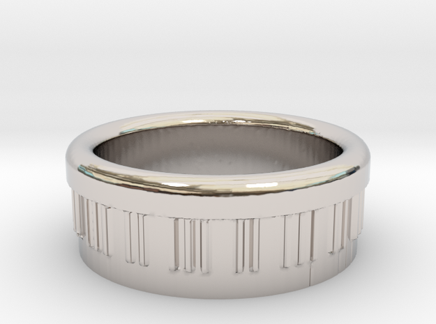 Piano Ring Ø0.805 inch - Ø20.44 mm in Rhodium Plated Brass