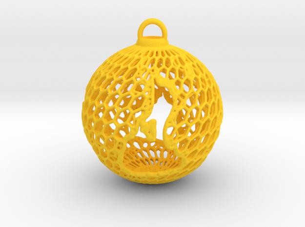 3D Printed Block Island Ball Ornament 2 in Yellow Processed Versatile Plastic