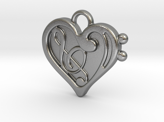 Musical Heart Pendant in Raw Silver