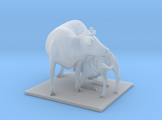 """Cow with Calf Nursing Classic 48"""" in Smooth Fine Detail Plastic: 1:64 - S"""