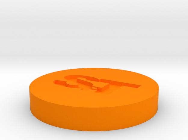 Badge in Orange Processed Versatile Plastic