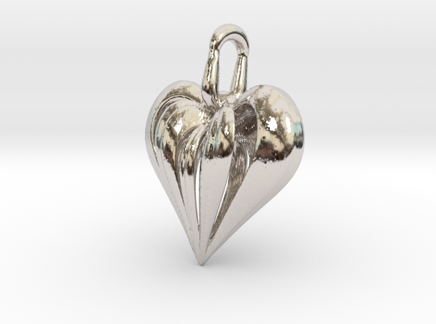 Heart Pendant Simple Elegant in Rhodium Plated Brass