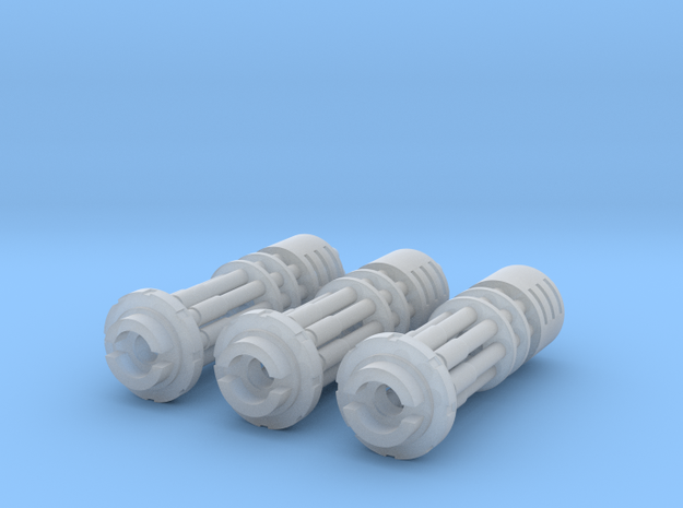 Tsunami Gatling Weapons - Set of 3 (Short Barrel) in Frosted Ultra Detail