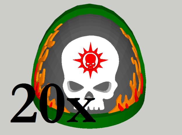 20 Shoulder Pads Skull with Flames and Halo