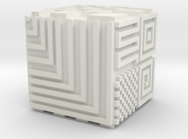 Opical Art Cube in White Natural Versatile Plastic