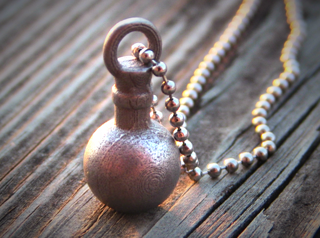 Potion Pendant/Keychain in Polished Nickel Steel