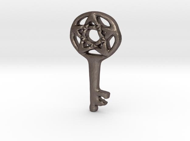 Pentacle Skeleton Key Charm in Polished Bronzed Silver Steel