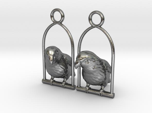 Lovebird Earrings in Polished Silver