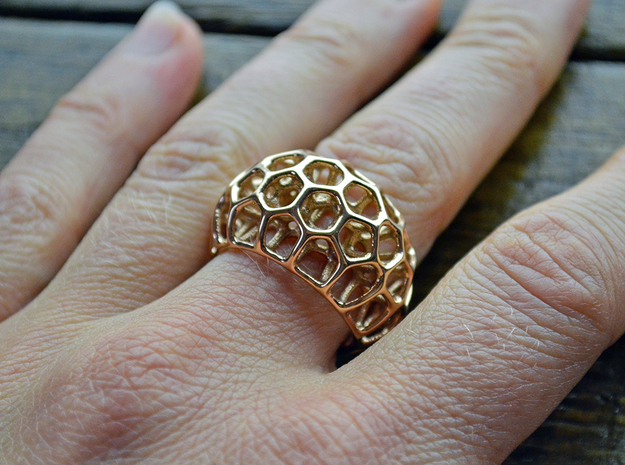 Voronoi Cell Ring  (Size 60) in 14k Rose Gold Plated