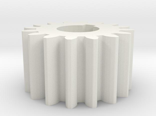 Cylindrical gear Mn=1 Z=16 AP20° Beta0° b=10 HoleØ in White Natural Versatile Plastic