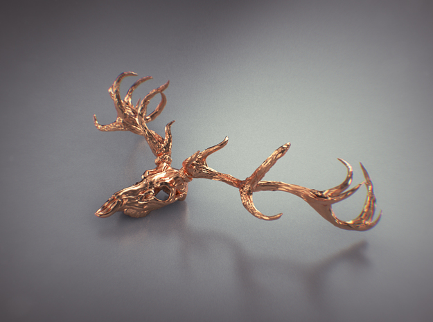 Deer bone head  in Natural Brass
