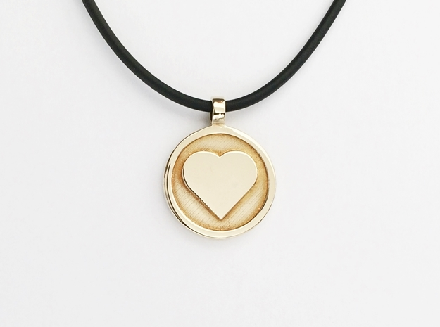 "Personalized Heart Pendant - Say ""I Love You""  in Polished Brass"