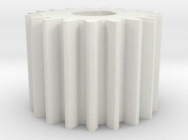 Cylindrical gear Mn=1 Z=19 AP20° Beta0° b=15 HoleØ in White Natural Versatile Plastic