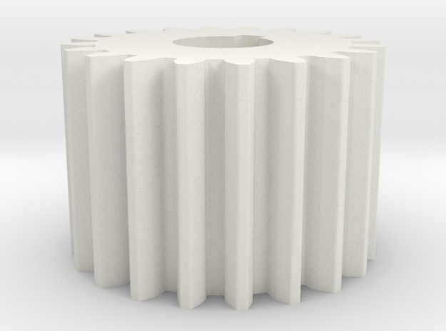 Cylindrical gear Mn=1 Z=20 AP20° Beta0° b=15 HoleØ in White Natural Versatile Plastic