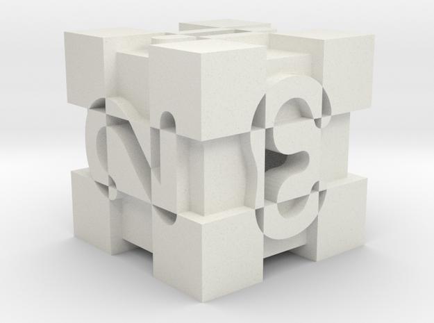 Optical Art D6 Dice v2 (numbers) in White Natural Versatile Plastic