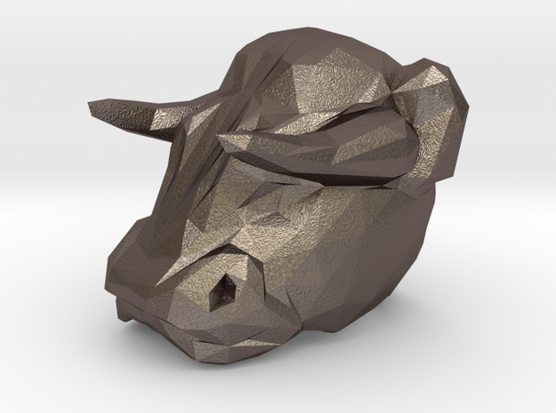 Bull Ring 0.75 in in Polished Bronzed Silver Steel