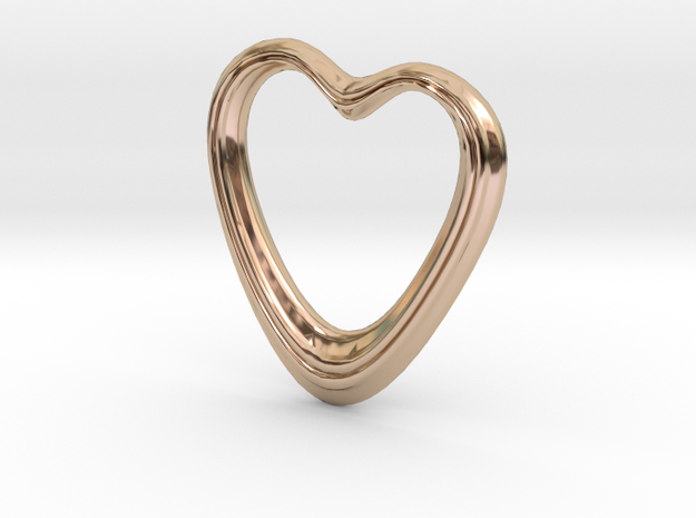Oblong Heart Pendant in 14k Rose Gold Plated Brass