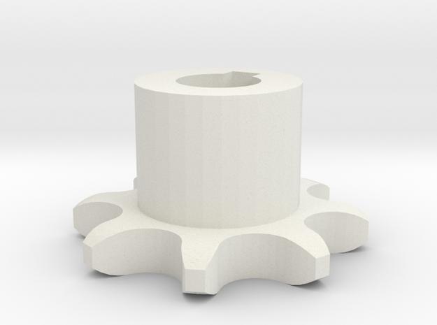 Sprocket gear ISO 04B-1 P6x2,8 Z8 in White Natural Versatile Plastic