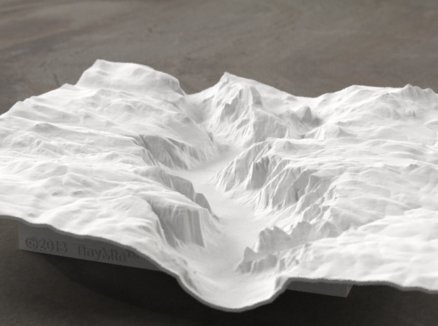 8'' Yosemite Valley Terrain Model, California, USA in White Strong & Flexible