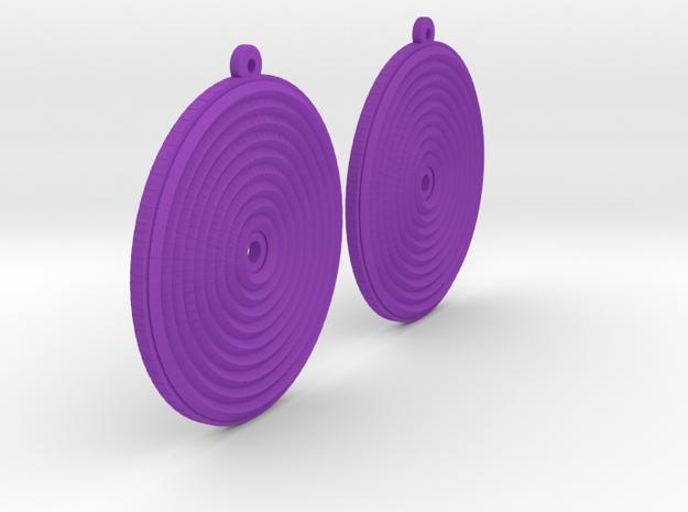 Glitter Earring Pair in Purple Processed Versatile Plastic